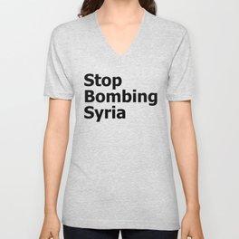 Stop Bombing Syria Unisex V-Neck