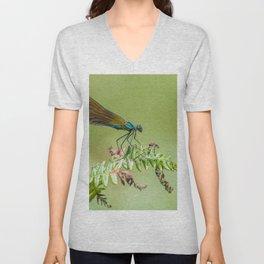 Blue metallic dragonfly Unisex V-Neck