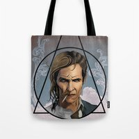 true detective Tote Bags featuring True Detective by Pop Vulture