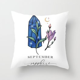 September Shappire Throw Pillow