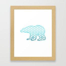 Abstract Animal Art Polar Bear In Blue Simple Design Framed Art Print