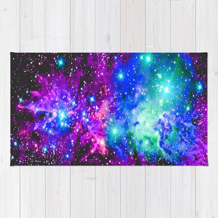 Fox Fur Nebula Galaxy Pink Purple Blue Rug