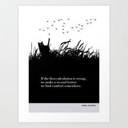 """Jane Austen """"We find comfort somewhere"""" cat literary quote Art Print"""