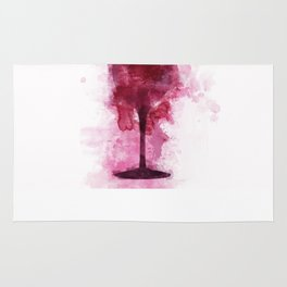 Wine Glass Watercolor Rug