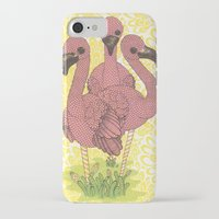 flamingos iPhone & iPod Cases featuring Flamingos  by Amanda James