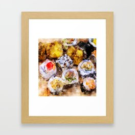 Sushi board - watercolor Framed Art Print