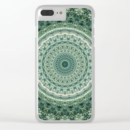 Mandala in green and creamy colors Clear iPhone Case