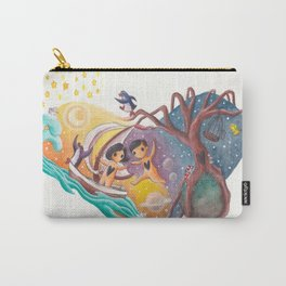 Boy and Girl in Love Sail Off Into the Sky on Adventure Carry-All Pouch