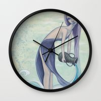 aquarius Wall Clocks featuring Aquarius by Artist Andrea