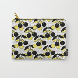 Black and yellow pattern . Cherry . Carry-All Pouch