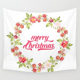 Merry Christmas Modern Typography Christmas Berries Wreath Wall Tapestry