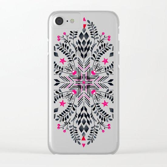 Winter Graphic Folk Art Pattern Clear iPhone Case
