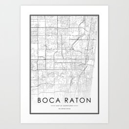 Boca Raton City Map United States White and Black Art Print