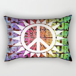 Glastonbury Peace Love Music Rectangular Pillow