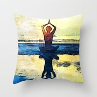 yoga Throw Pillows featuring yoga by Chantale Roger