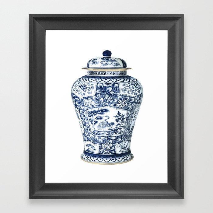 Blue & White Chinoiserie Cranes Porcelain Ginger Jar Gerahmter Kunstdruck