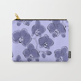 Seamless watercolor orchids phalaenopsis flowers gray blue retro pattern floral Carry-All Pouch