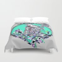 cityscape Duvet Covers featuring Cityscape by infloence