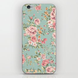 Wild Roses with blue background iPhone Skin