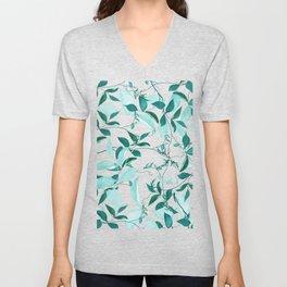 fresh green leaf pattern Unisex V-Neck