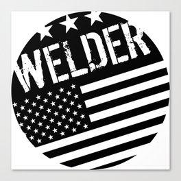 Welder: Black Flag (Circle) Canvas Print