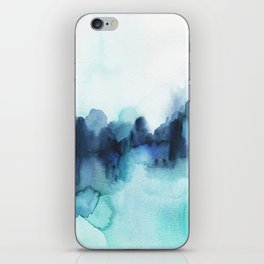 Wonderful blues Abstract watercolor iPhone Skin