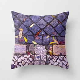 Autumn leaves on sidewalk and road Throw Pillow