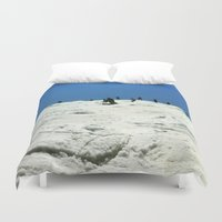 skiing Duvet Covers featuring Spring Skiing on Superstar by BACK to THE ROOTS