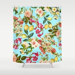 Lemon and Leaf Pattern IV Shower Curtain