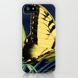 Yellow Tiger Swallowtail Butterfly A125 iPhone Case