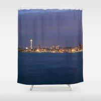 seattle Shower Curtains featuring Seattle by Ren Davis