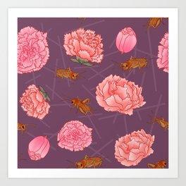 Carnations & Crickets Art Print