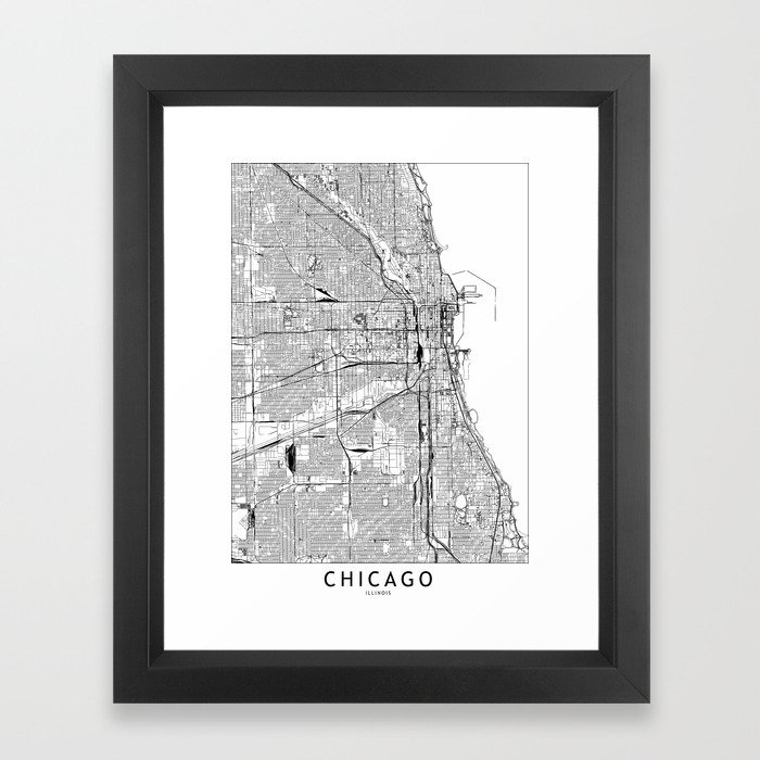 Chicago White Map Framed Art Print