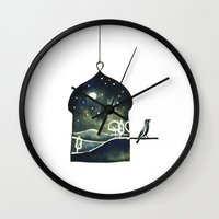 blankets Wall Clocks featuring Blankets of the Sky by Diana Toledano