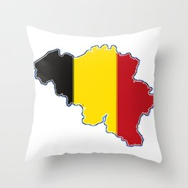 Belgium Map with Belgian Flag Throw Pillow