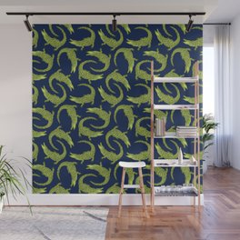 Crocodiles (Deep Navy and Green Palette) Wall Mural