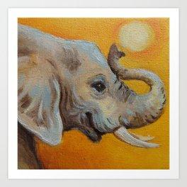 Good Luck Elephant Safari style landscape & elephant Animal portrait Yellow background Painting Art Print
