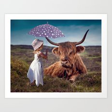 Highland Girl and Cow Friendship Art Print