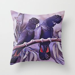 Red Tailed Black Cockatoo Throw Pillow