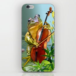 Realistic Print of Frog Playing Cello iPhone Skin