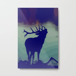 Belling/Bellowing/Howling Stag/Deer / fallcollection / holidays silhoutte / scandinavian style Metal Print