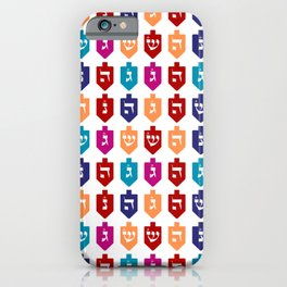 Colorful Hanukkah Dreidels with Hebrew Letters Jewish Festival of Lights iPhone Case