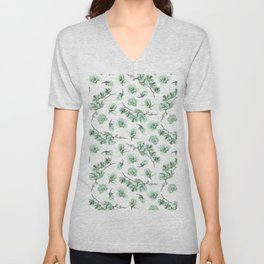 Pastel green watercolor modern orchid floral pattern Unisex V-Neck