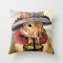 Bunny Illustration Throw Pillow