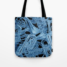 Brass Instruments Blue Tote Bag