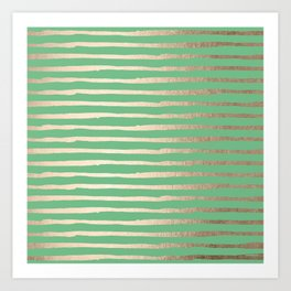 Abstract Stripes Gold Tropical Green Art Print