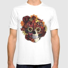 Full circle...Floral ohm skull MEDIUM White Mens Fitted Tee