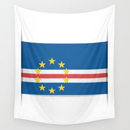 Flag of Cape Verde, officially the Republic of Cabo Verde. The slit in the paper with shadows. Wall Tapestry