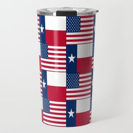 Mix of flag : Usa and Texas Travel Mug