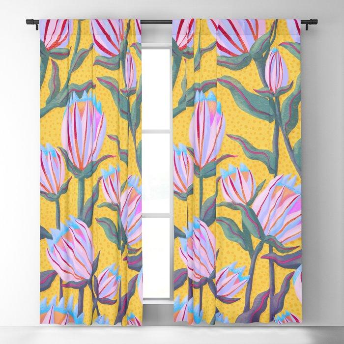 Bold Protea Flower Pattern - Pink Blue Green Purple Yellow Blackout Curtain